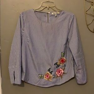 Navy striped floral embroidered blouse